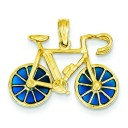 Blue Translucent Bicycle Pendant in 14k Yellow Gold