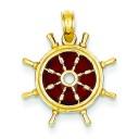 Brown Translucent Ship Wheel Pendant in 14k Yellow Gold