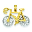 Bicycle Pendant in 14k Two-tone Gold