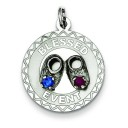 Blessed Event Disc Charm in Sterling Silver