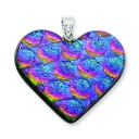 Blue Pink Dichroic Glass Heart Pendant in Sterling Silver