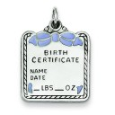 Blue Birth Certificate Charm in Sterling Silver