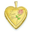 Gold Plated I Love You Heart Locket in Sterling Silver