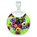 Multicolored Glass Fancy Pendant in Sterling Silver