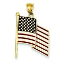 Flag Pendant in 14k Yellow Gold