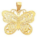 Butterfly Chain Pendant Slide in 14k Yellow Gold