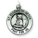 Antiqued St Elizabeth Seton Medal in Sterling Silver