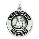 Oxidized St Elizabeth Medal in Sterling Silver