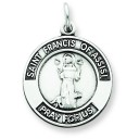 Oxidized St Francis of Assisi Medal in Sterling Silver