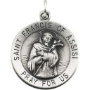 St Francis Of Assisi Medal 18 Inch Chain in Sterling Silver