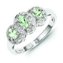 Rhodium Green Amethyst Diamond Ring