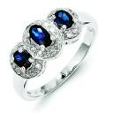 Rhodium Sapphire Diamond Ring