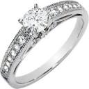 Moissanite Diamond Engagement Ring in 14k White Gold
