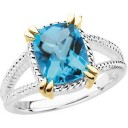Swiss Blue Topaz Ring in 14k Yellow Gold & Sterling Silver