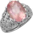 Genuine Rose Quartz Ring in Sterling Silver