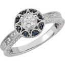 Genuine Blue Sapphire Diamond Ring in 14k White Gold (0.06 Ct. tw.) (0.06 Ct. tw.)
