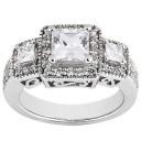 Princess Cut Three Stone Wedding Ring in 14K Yellow Gold