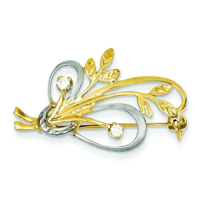 CZ Designer Pin in 14k Yellow Gold