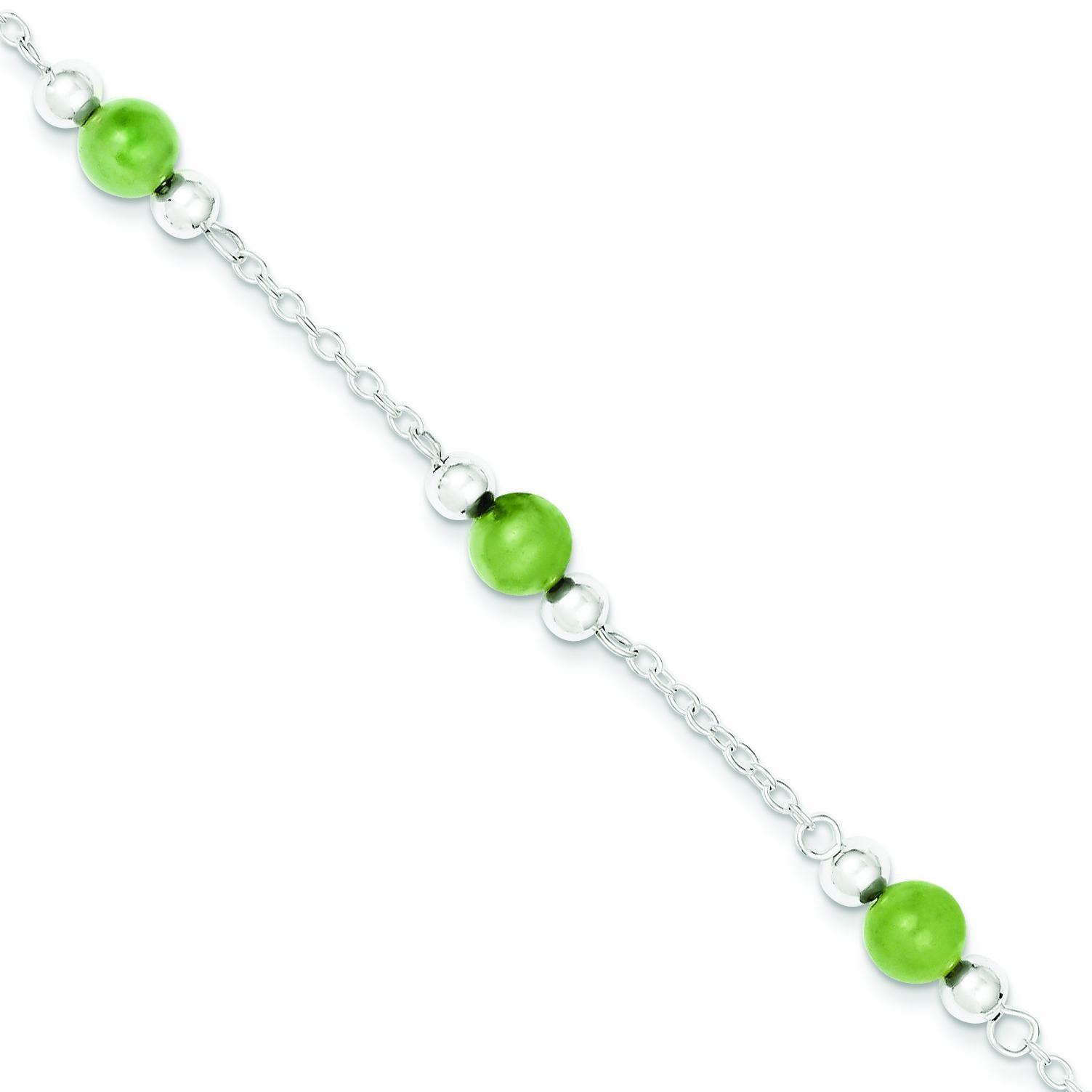 Green Jade Anklet in Sterling Silver