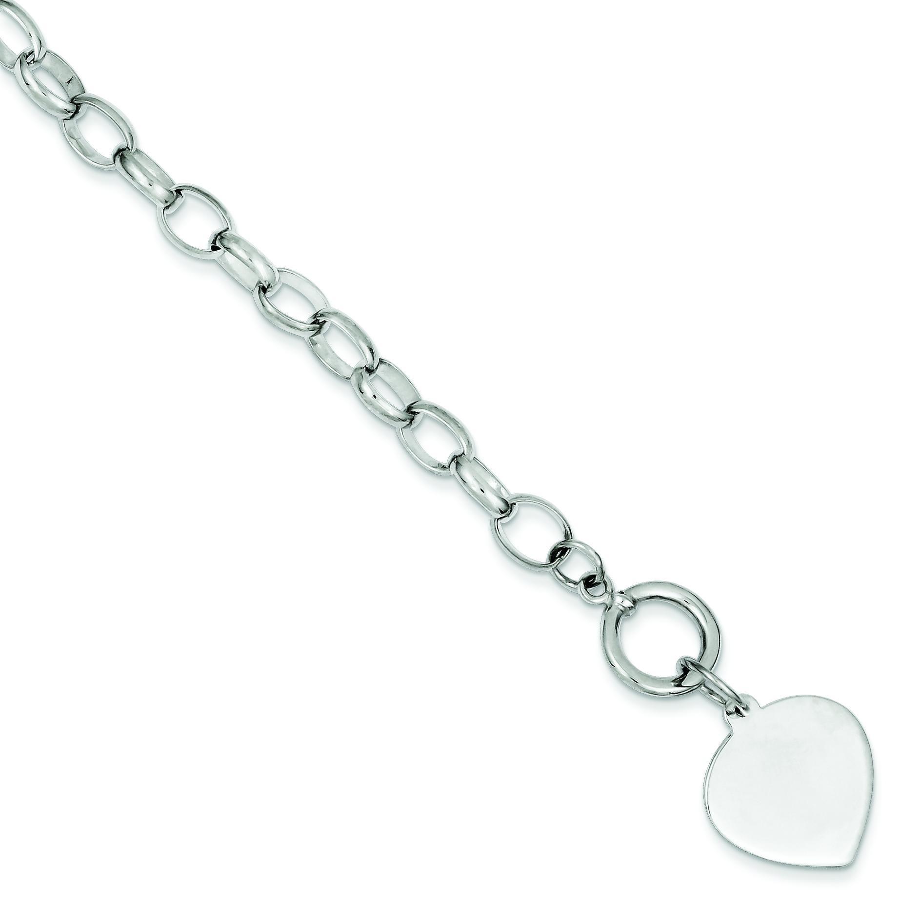 Heart Disc Link Toggle Bracelet in Sterling Silver