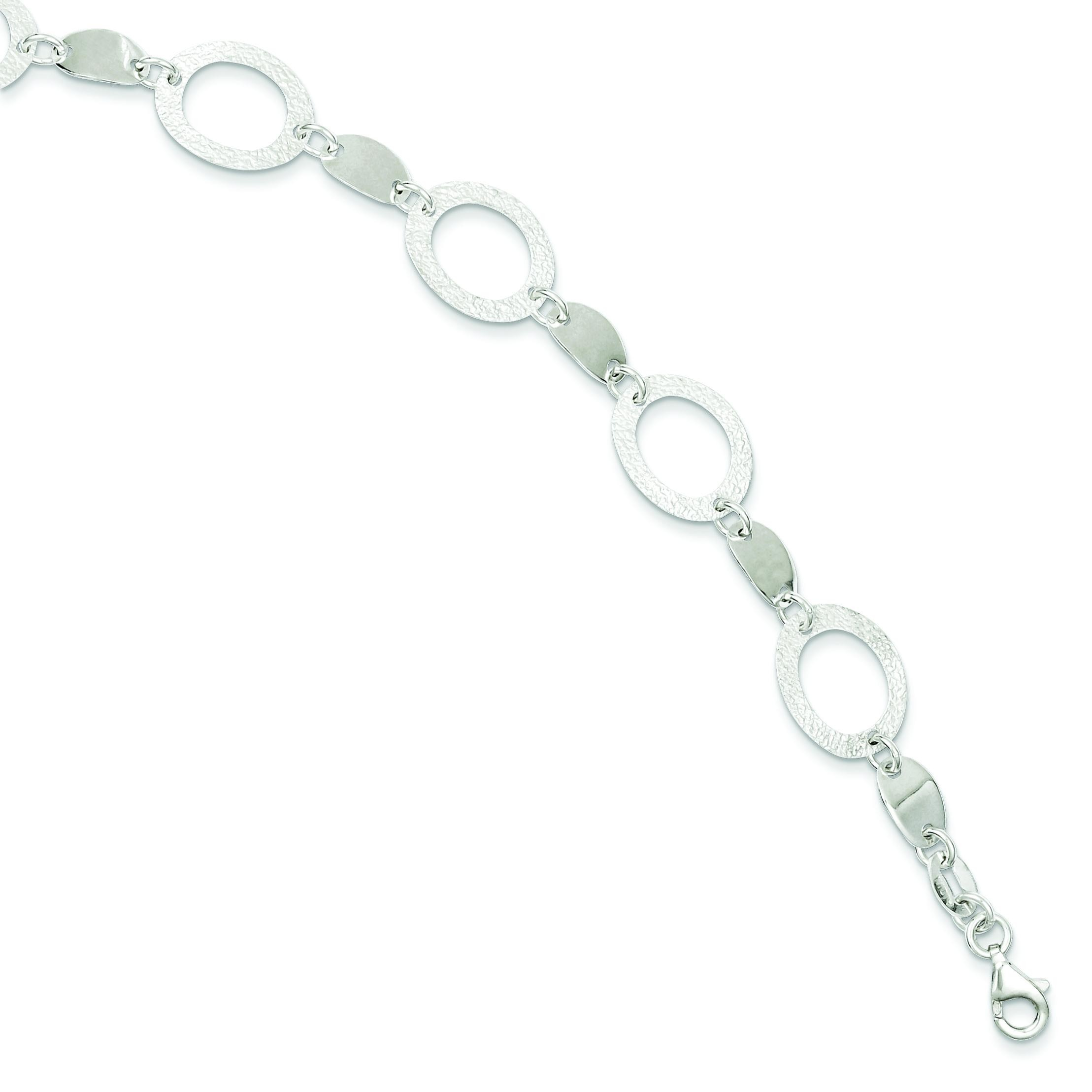 Polished Fancy Oval Link Bracelet in Sterling Silver