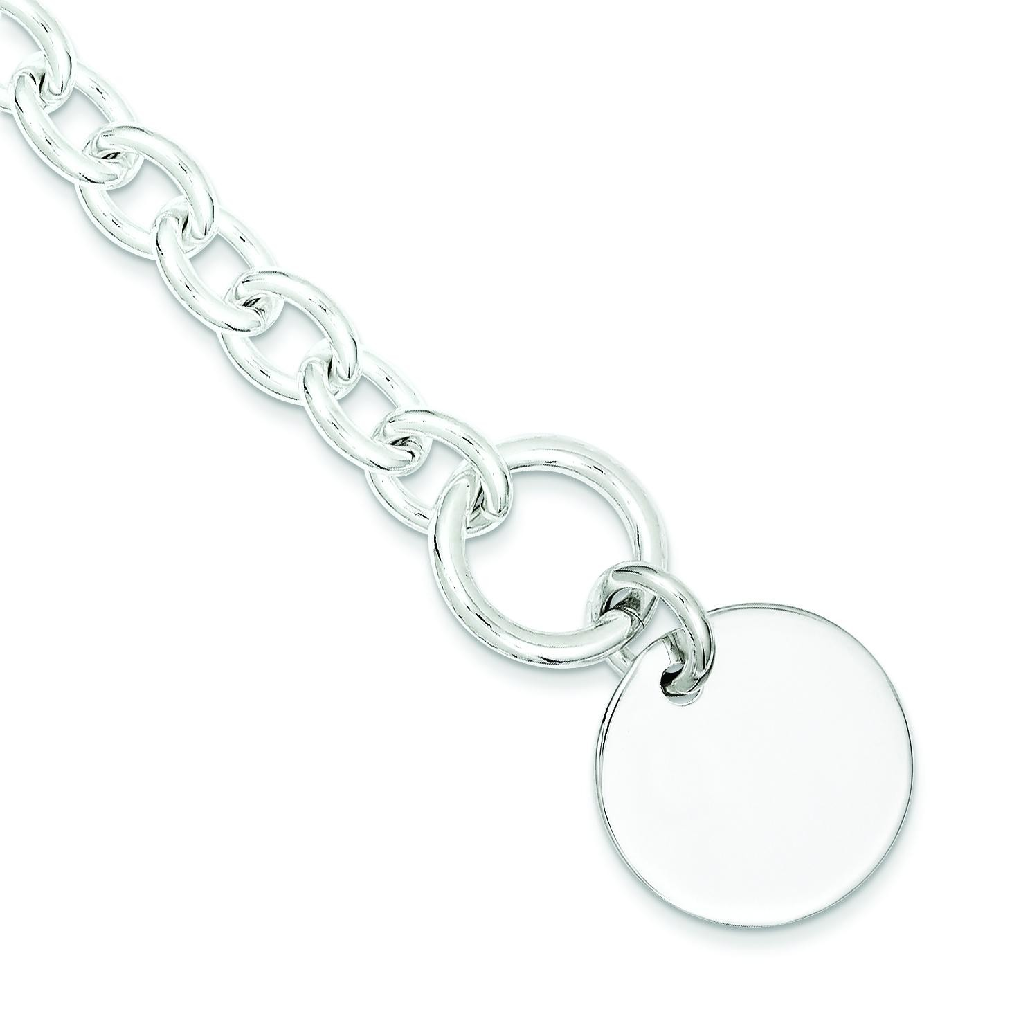 Circular Disc Link Bracelet in Sterling Silver