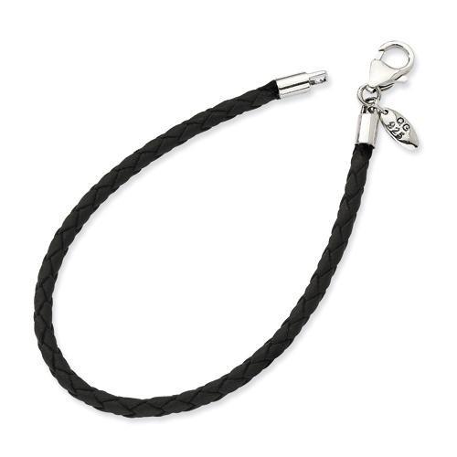 Black Leather Bead Bracelet in Sterling Silver