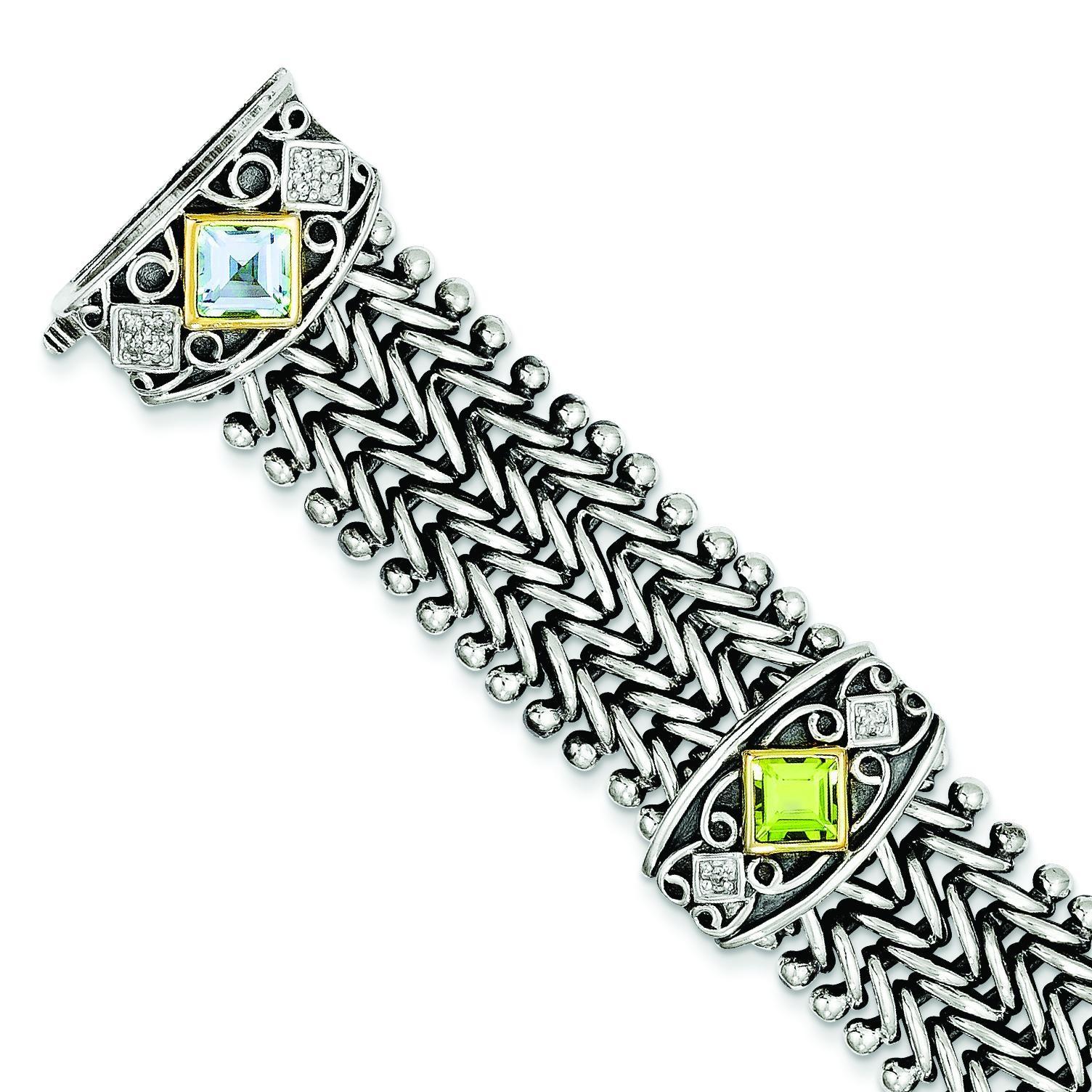 Multi Gemstone Diamond Bracelet in 14k Yellow Gold & Sterling Silver