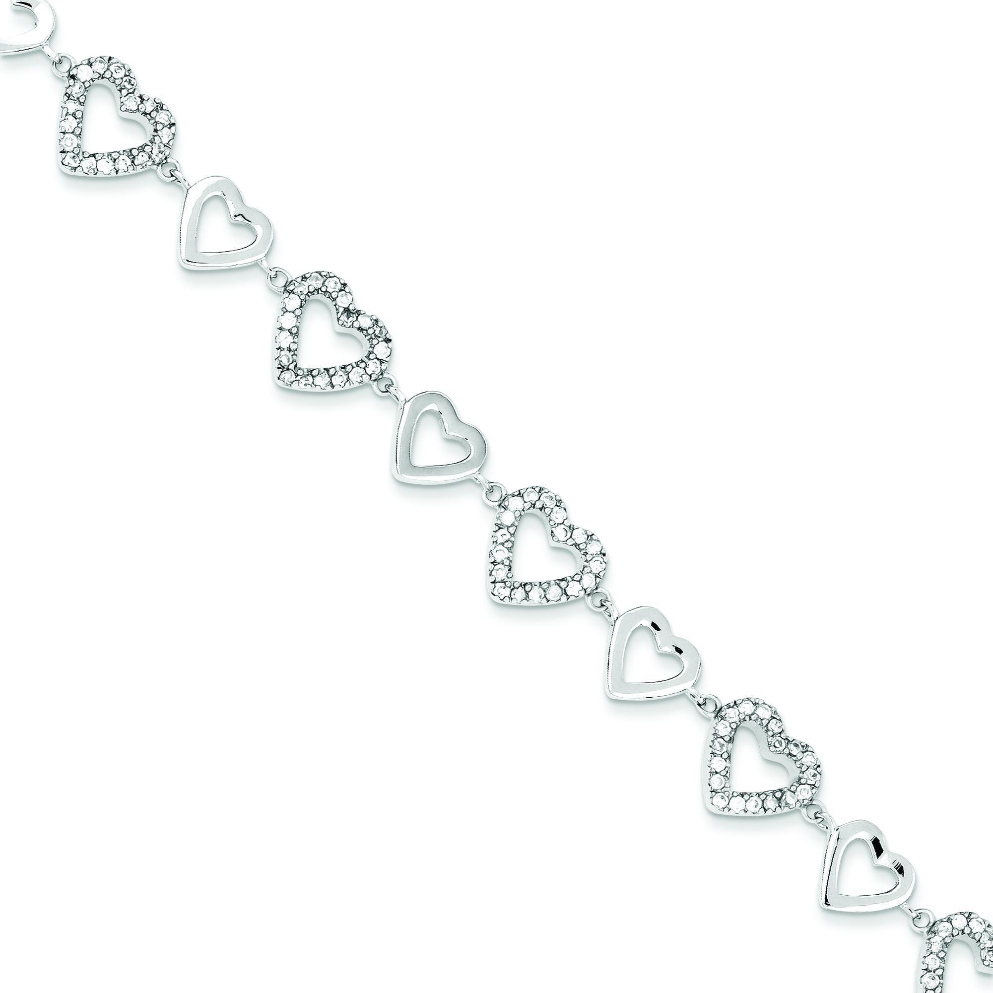 Polished CZ Hearts Bracelet in Sterling Silver