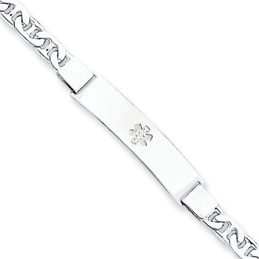 Medical ID Anchor Link Bracelet in Sterling Silver