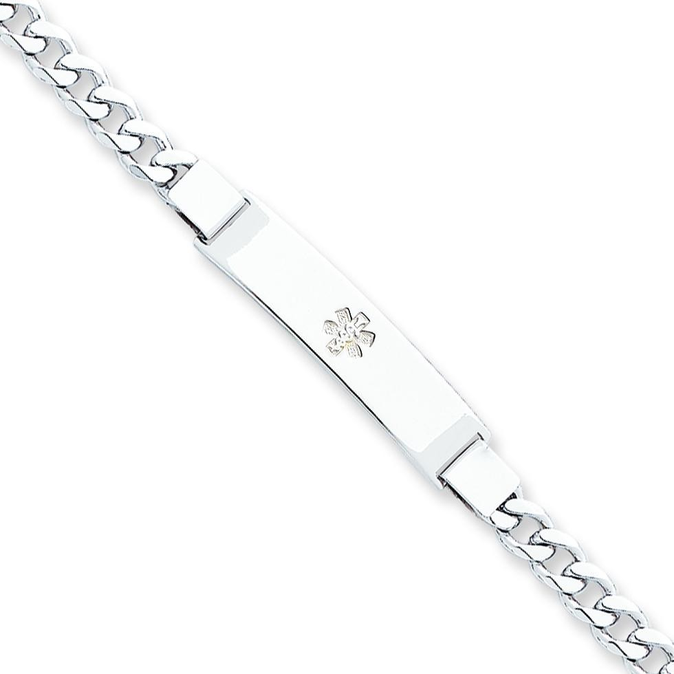 Medical ID Curb Link Bracelet in Sterling Silver