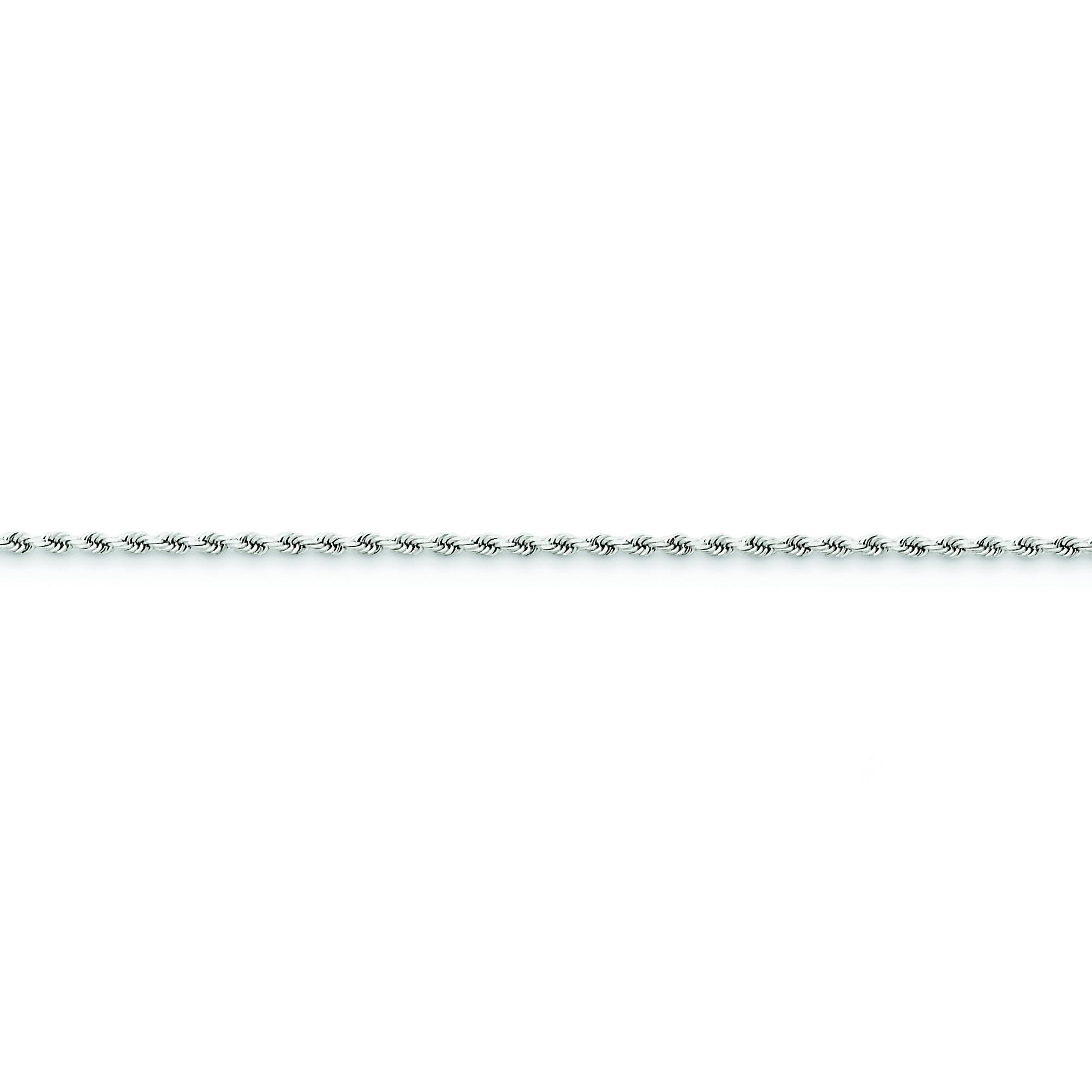 14k White Gold 7 inch 1.80 mm Handmade Diamond-cut Rope Chain Bracelet