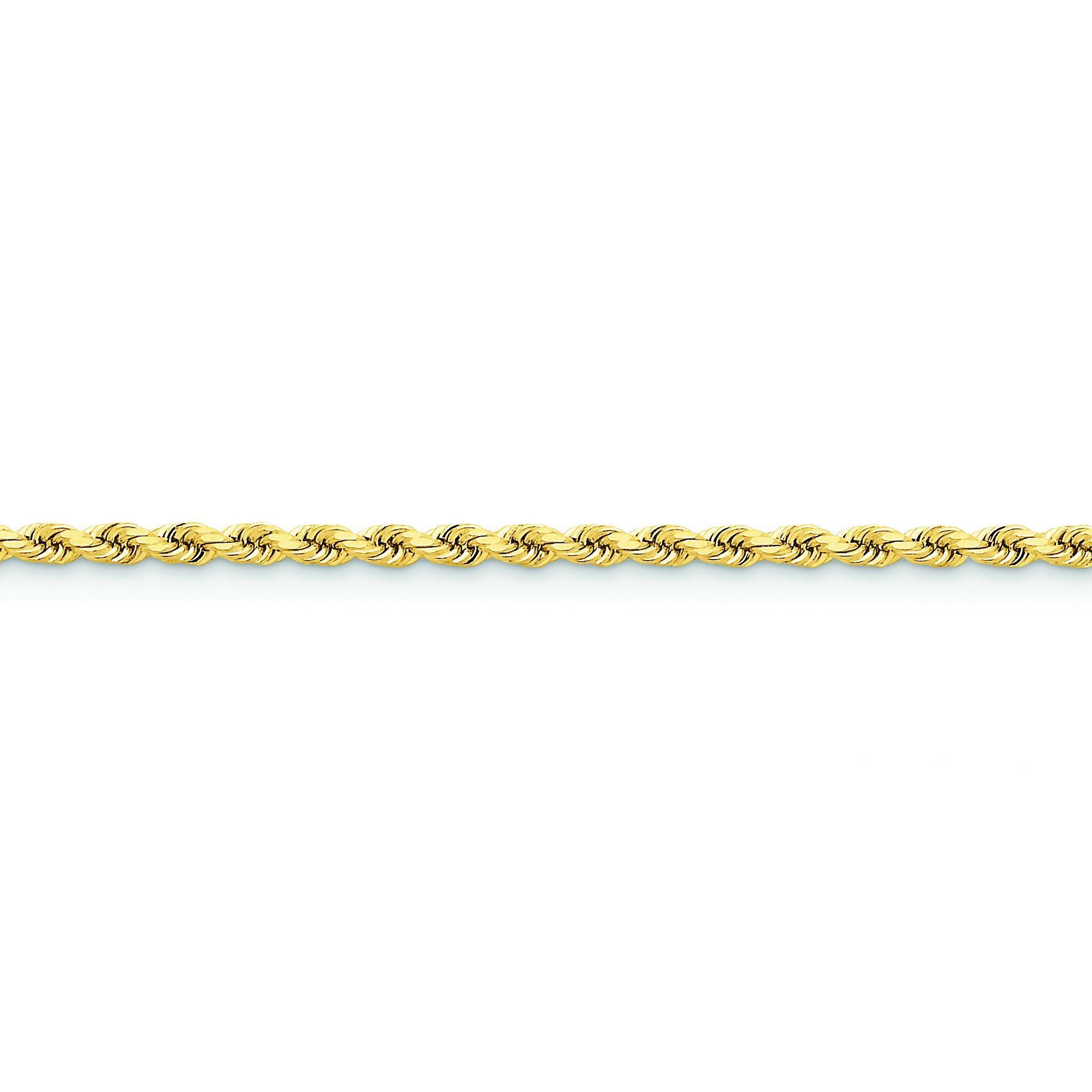 14k Yellow Gold 8 inch 3.50 mm Handmade Diamond-cut Rope Chain Bracelet