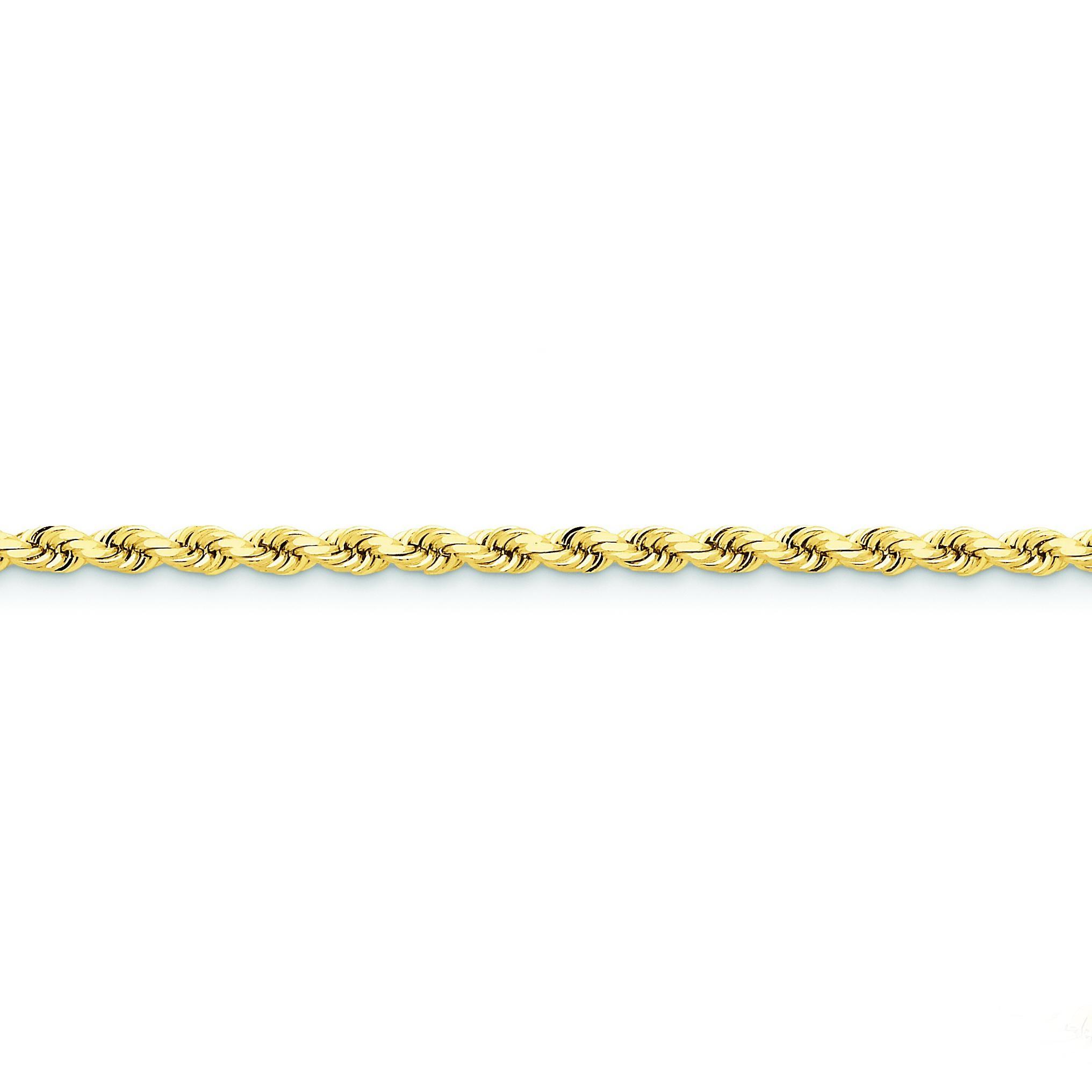 14k Yellow Gold 8 inch 4.00 mm Handmade Diamond-cut Rope Chain Bracelet