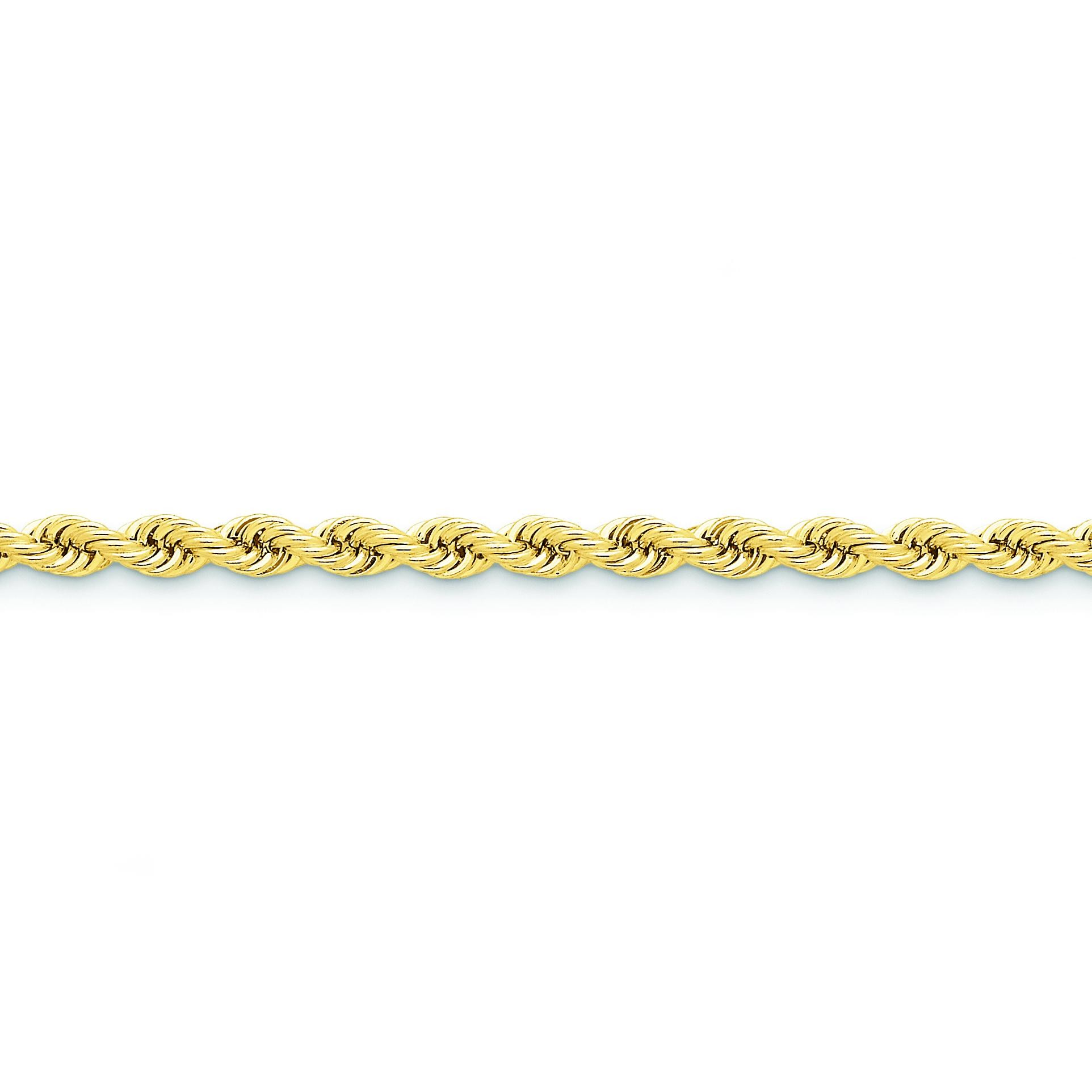 14k Yellow Gold 8 inch 5.00 mm Handmade Regular Rope Chain Bracelet