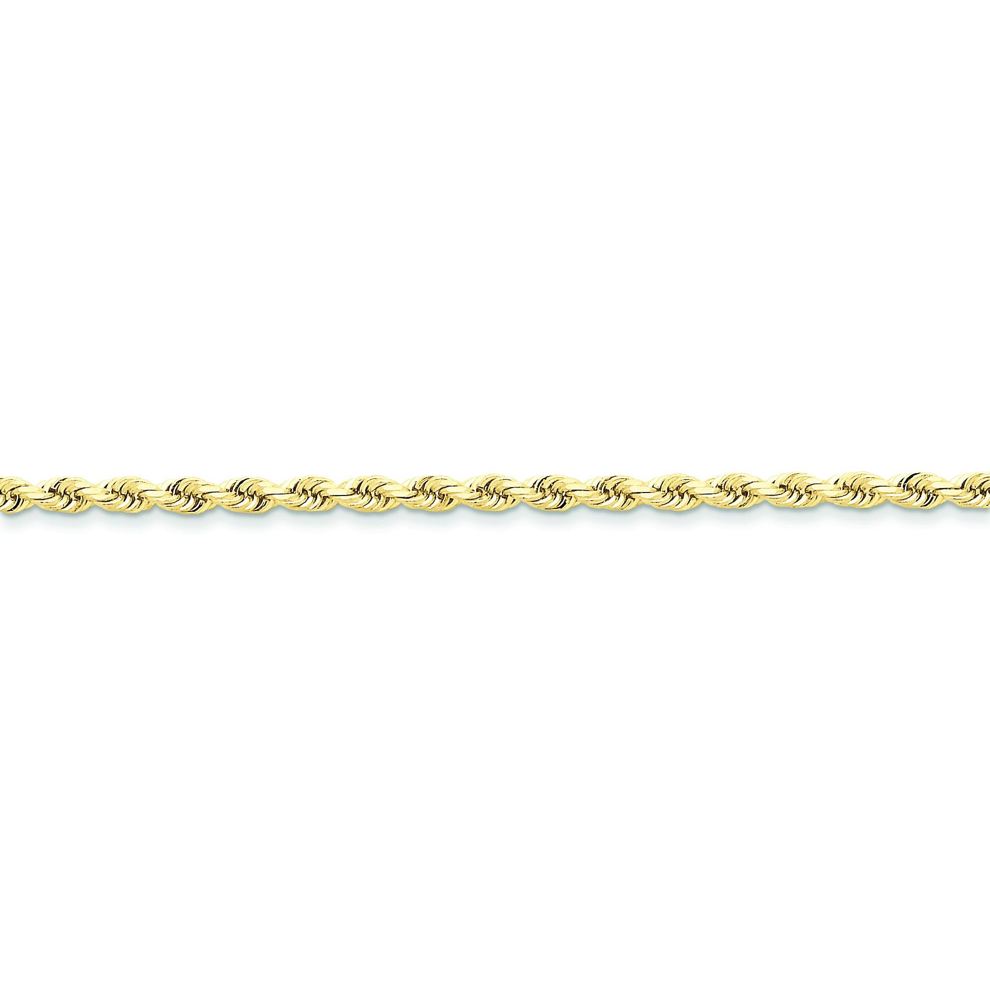 10k Yellow Gold 8 inch 3.00 mm Handmade Rope Chain Bracelet