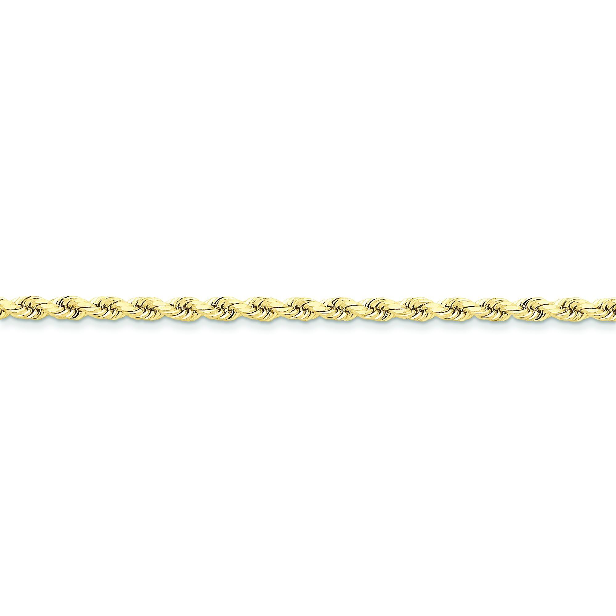 10k Yellow Gold 8 inch 3.50 mm Handmade Rope Chain Bracelet