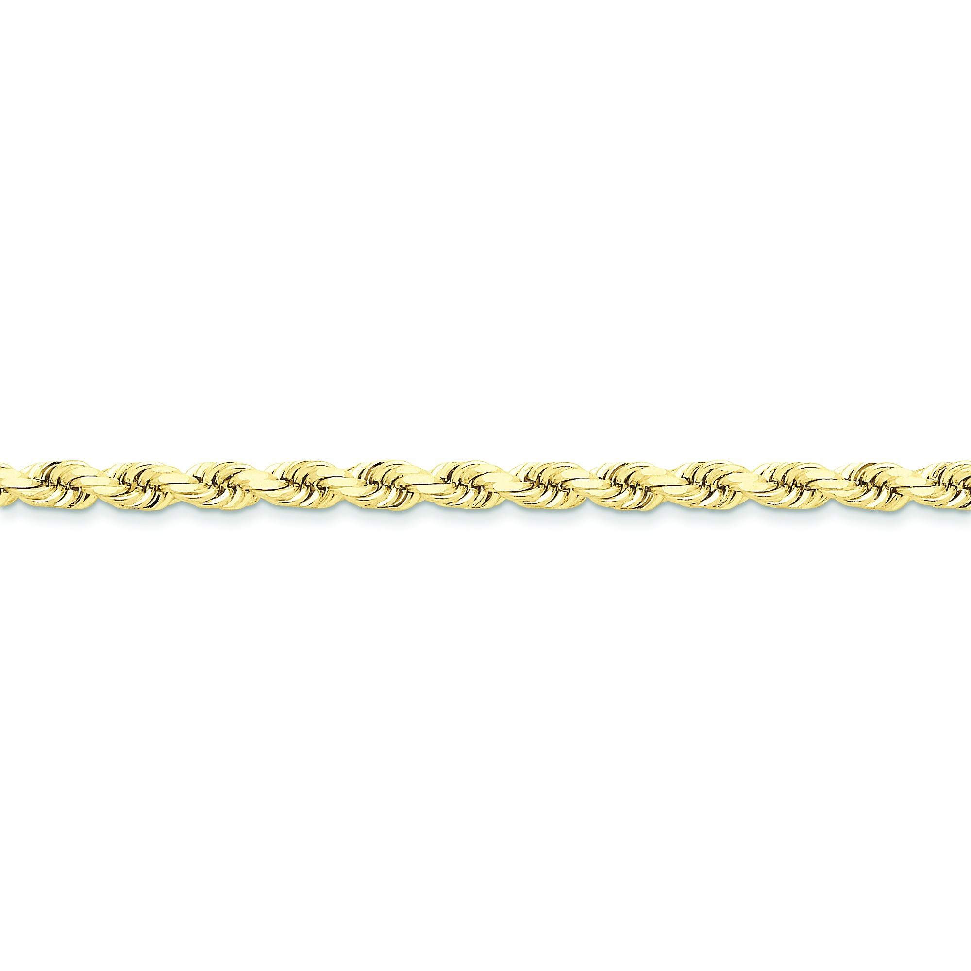 10k Yellow Gold 8 inch 5.00 mm Handmade Rope Chain Bracelet