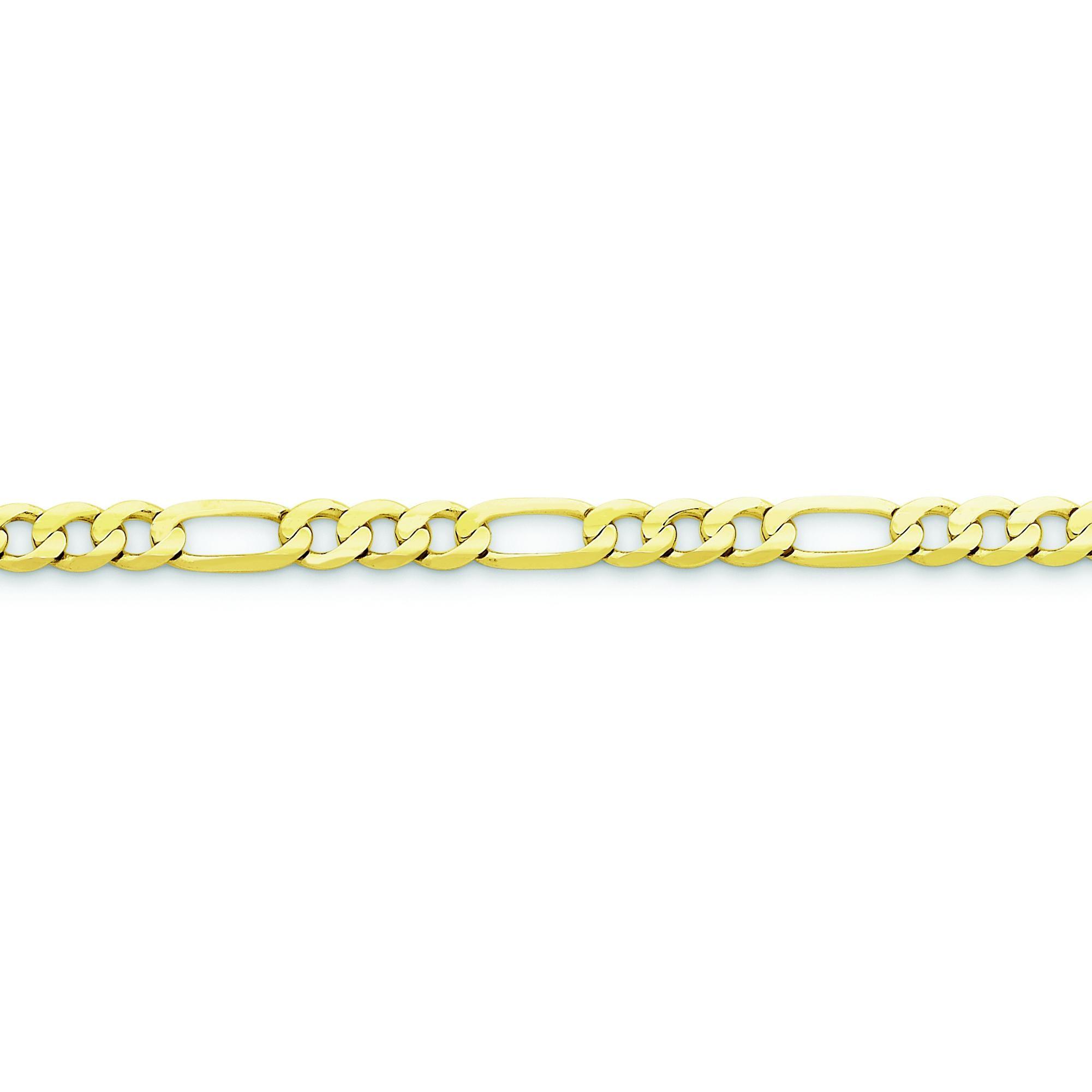 10k Yellow Gold 8 inch 5.25 mm Light Figaro Chain Bracelet