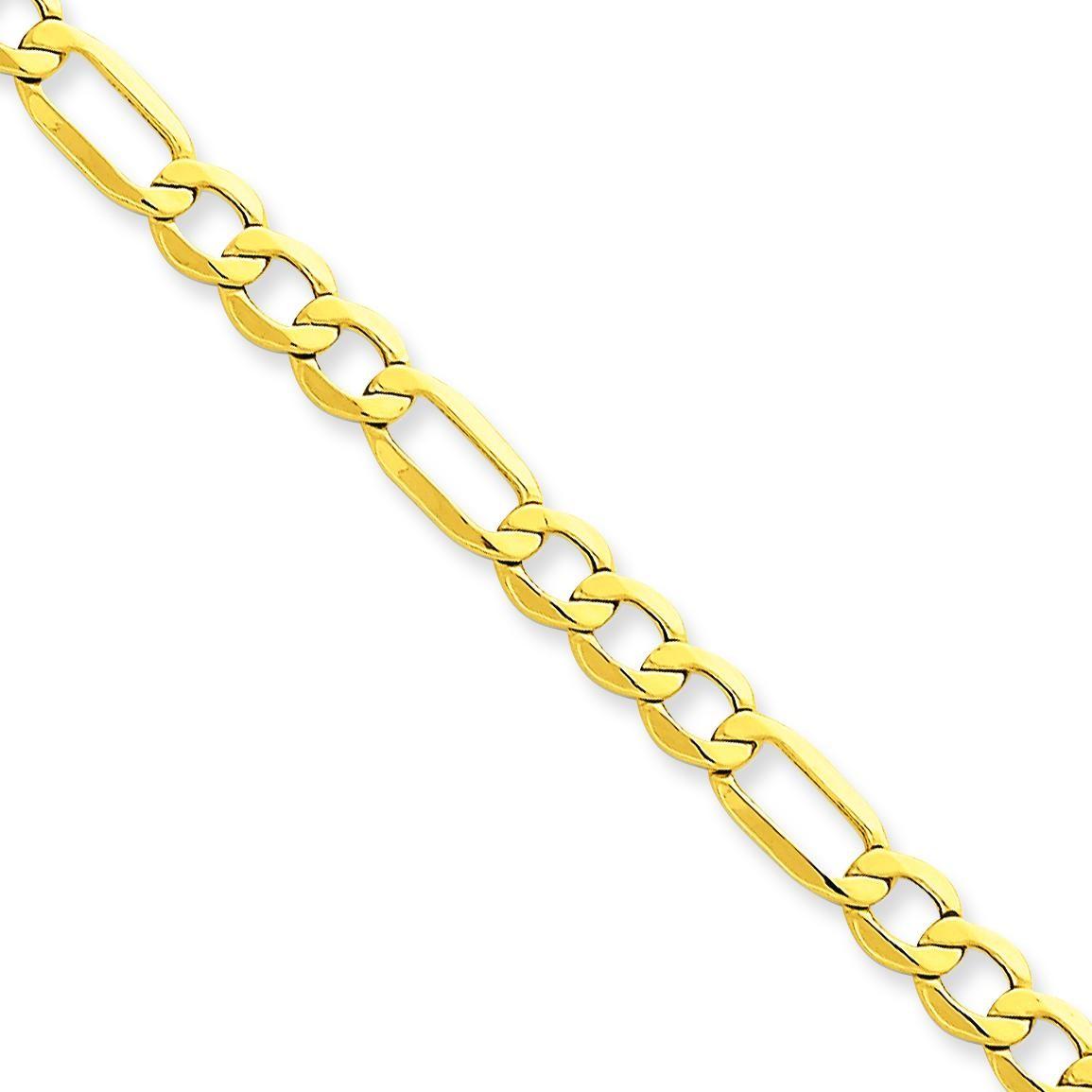 14k Yellow Gold 7 inch 5.35 mm Light Figaro Chain Bracelet