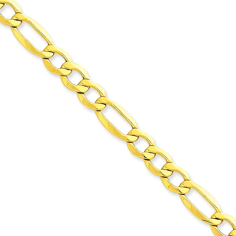 14k Yellow Gold 7 inch 7.30 mm Light Figaro Chain Bracelet