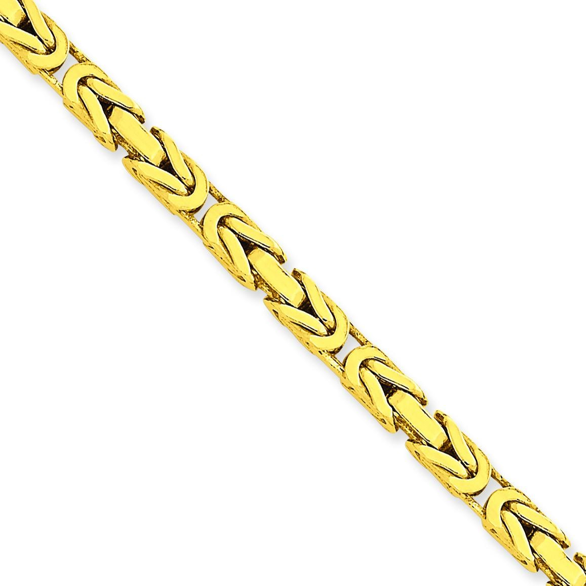 14k Yellow Gold 7 inch 4.00 mm Byzantine Chain Bracelet