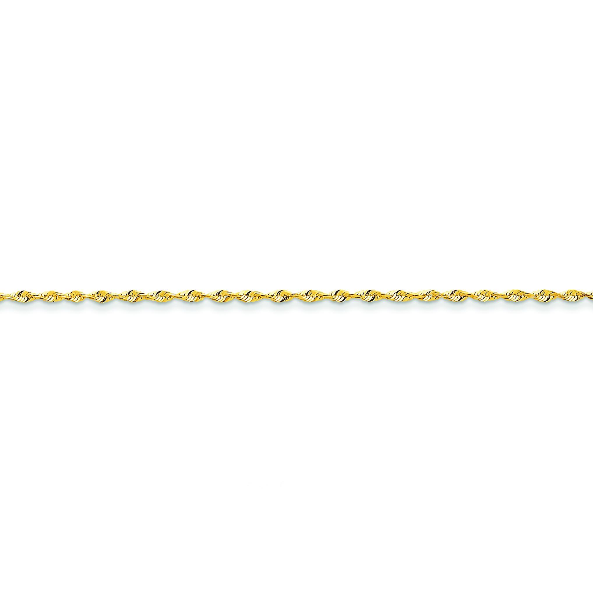 14k Yellow Gold 6 inch 1.80 mm Extra Light Diamond-cut Rope Chain Bracelet