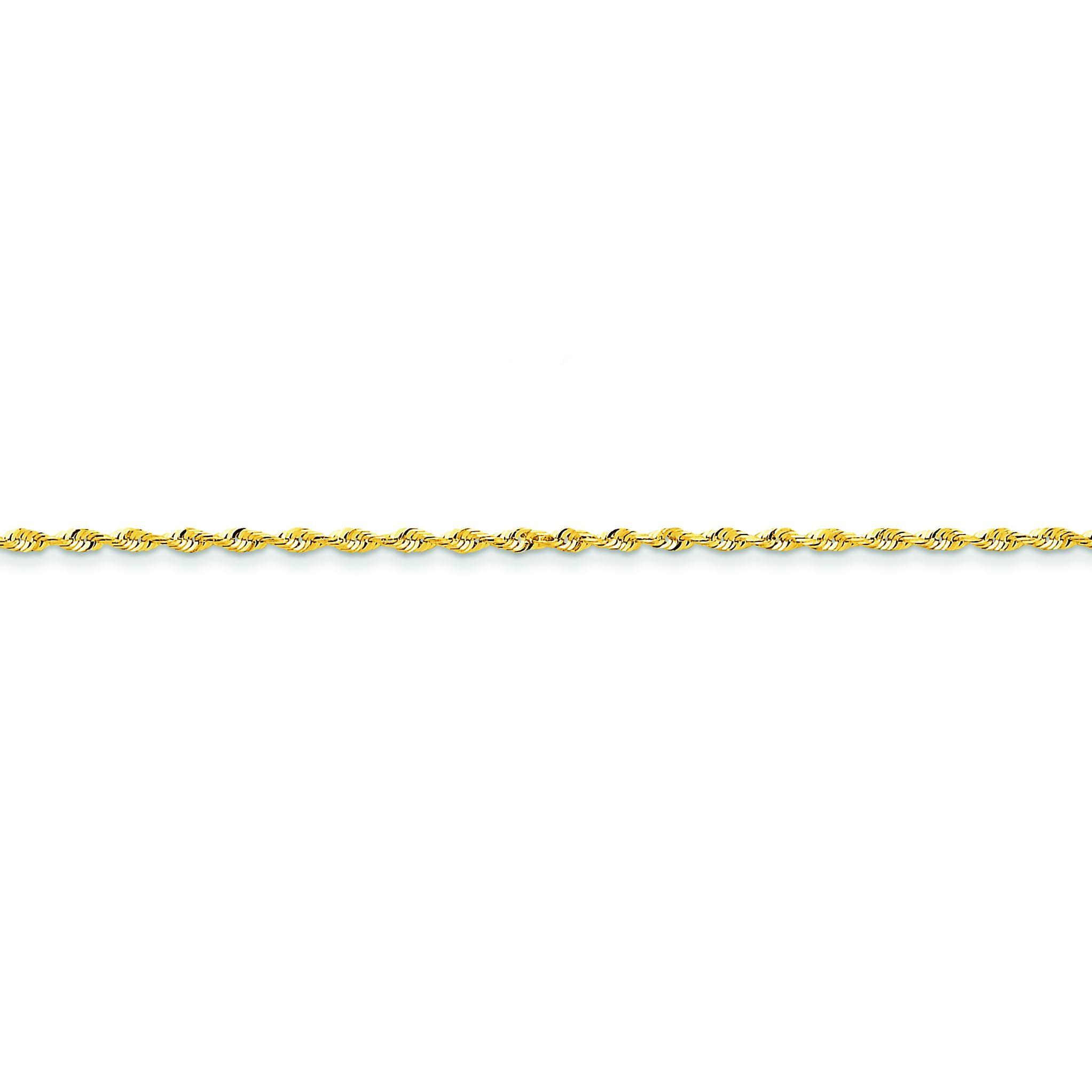 14k Yellow Gold 6 inch 2.00 mm Extra Light Diamond-cut Rope Chain Bracelet