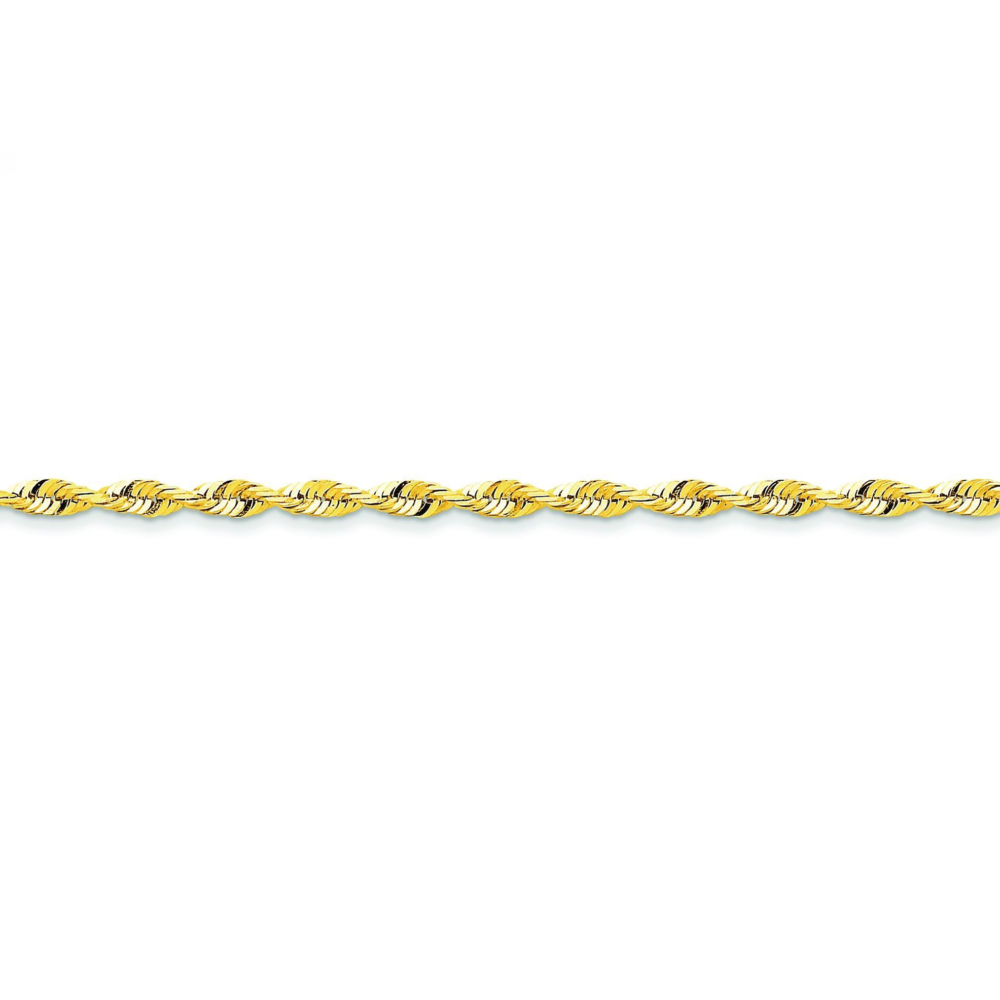 14k Yellow Gold 7 inch 4.00 mm Extra Light Diamond-cut Rope Chain Bracelet