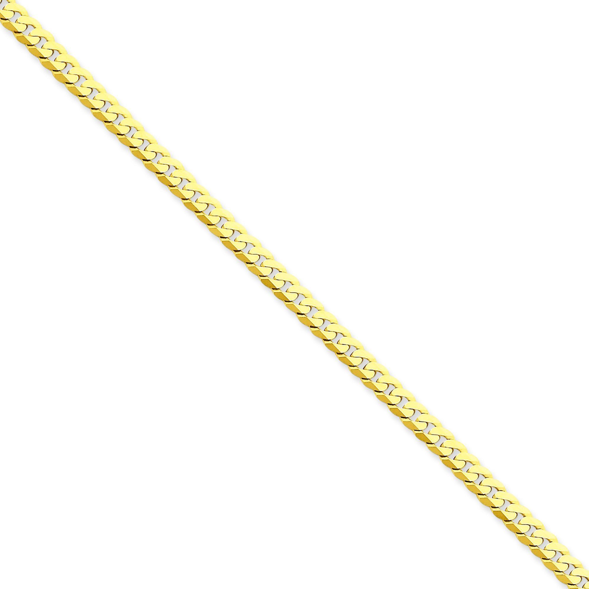 14k Yellow Gold 7 inch 4.20 mm Flat Beveled Curb Chain Bracelet