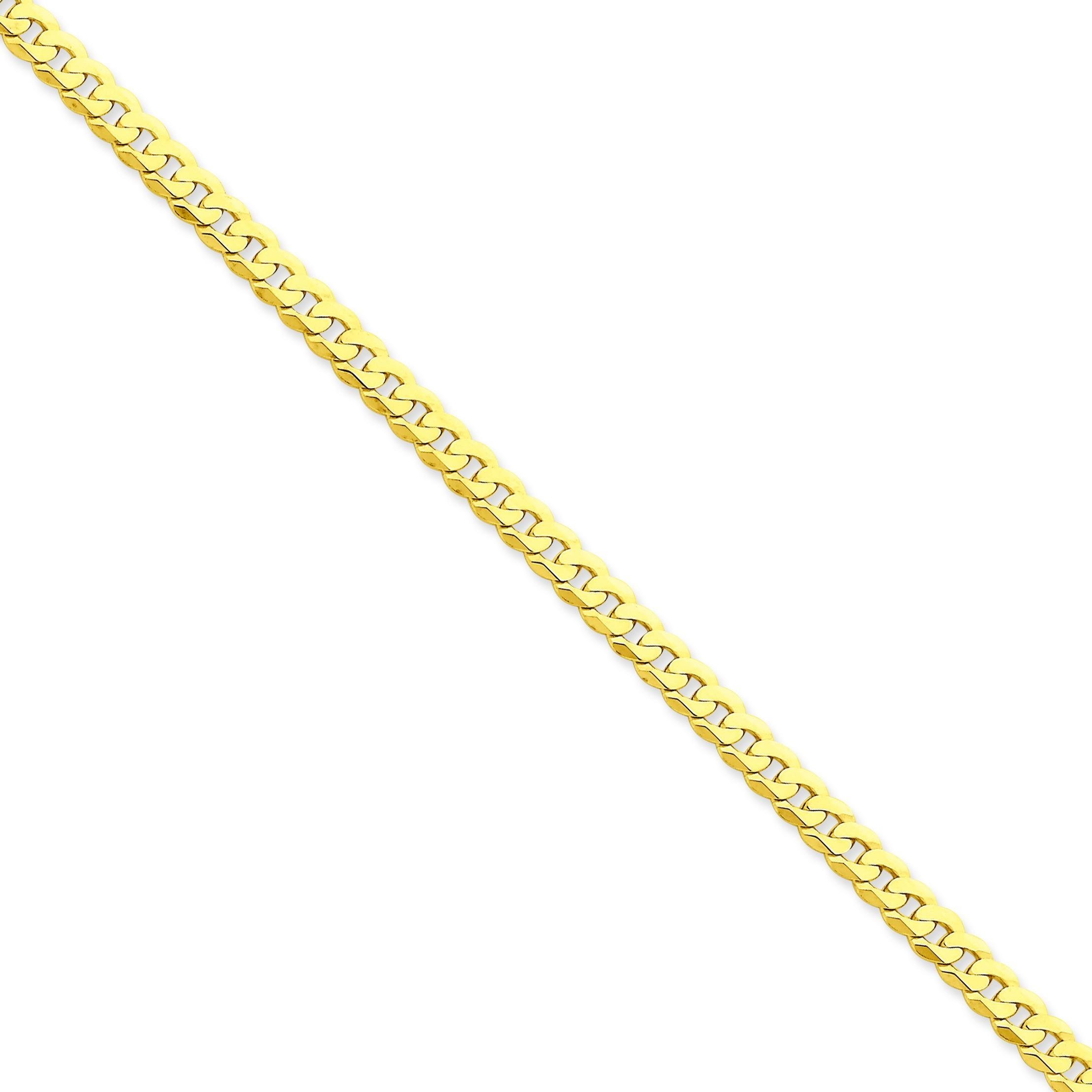14k Yellow Gold 7 inch 4.60 mm Flat Beveled Curb Chain Bracelet