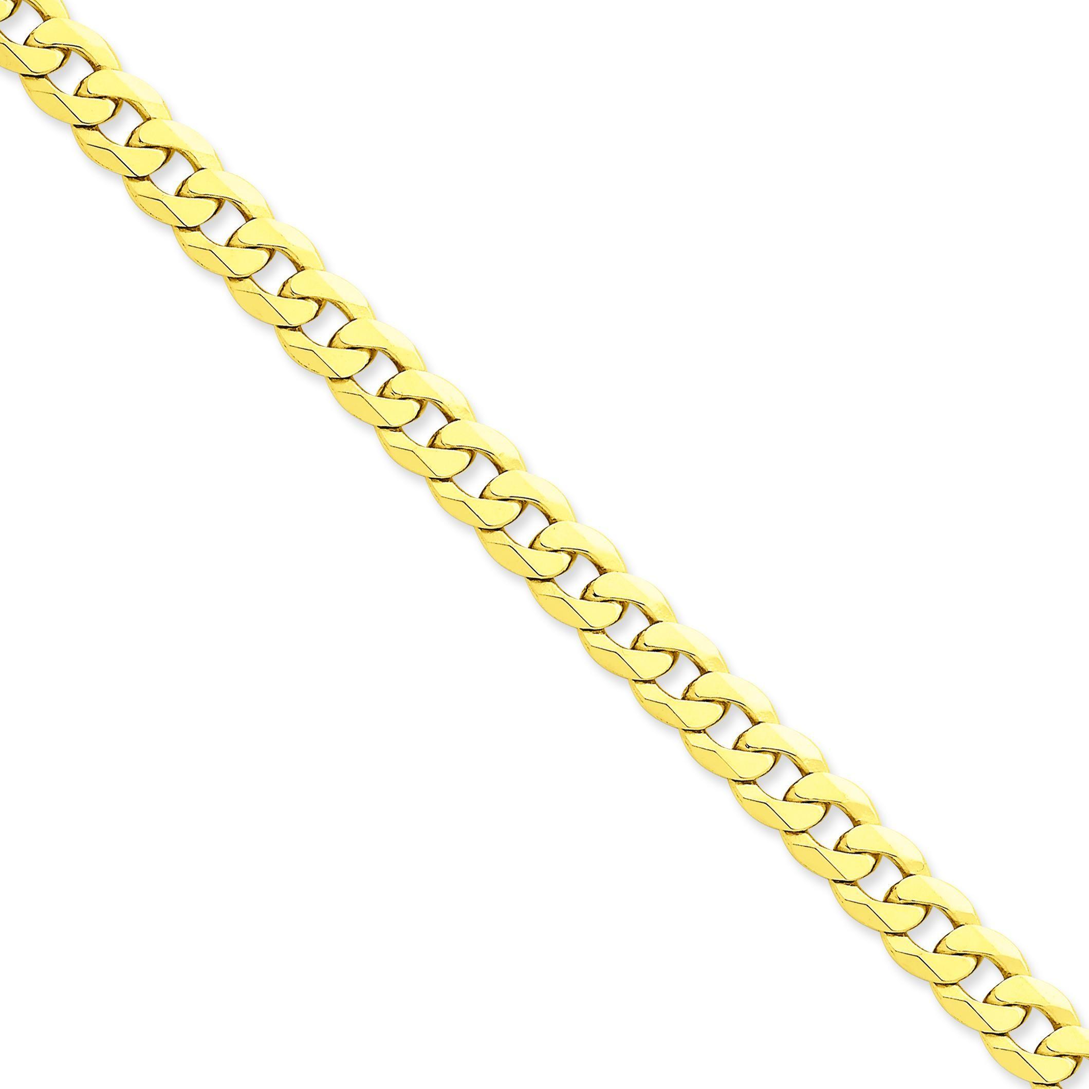 14k Yellow Gold 8 inch 8.00 mm Flat Beveled Curb Chain Bracelet