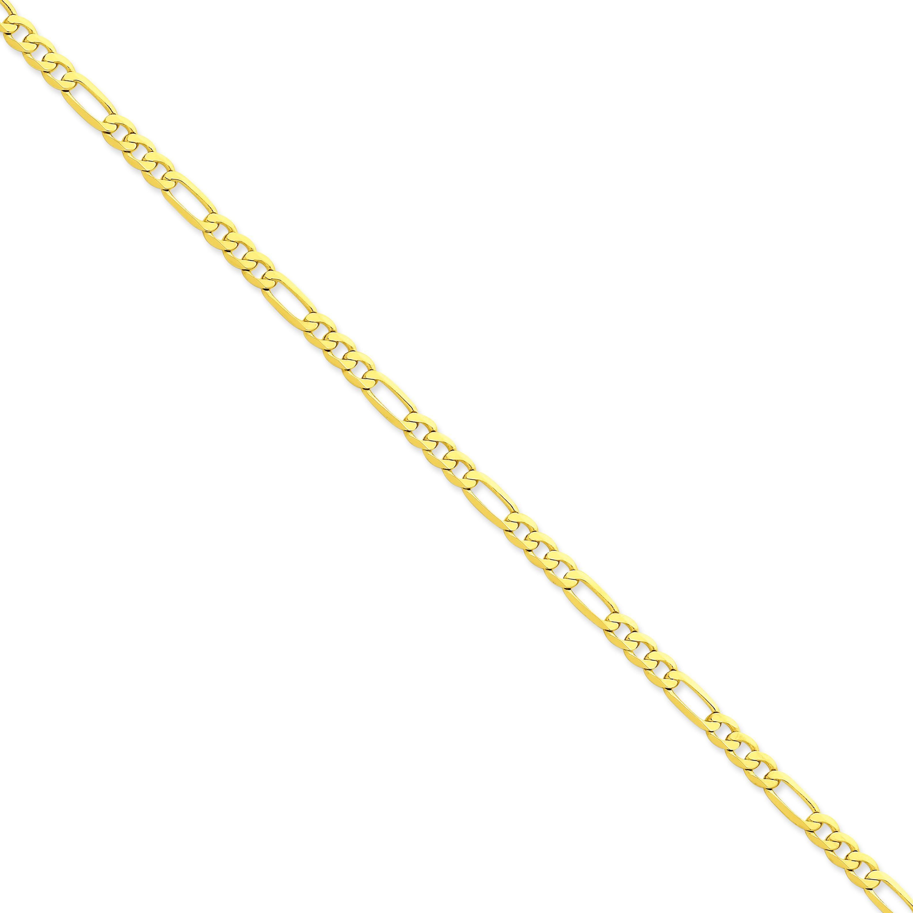 14k Yellow Gold 7 inch 4.75 mm Flat Figaro Chain Bracelet