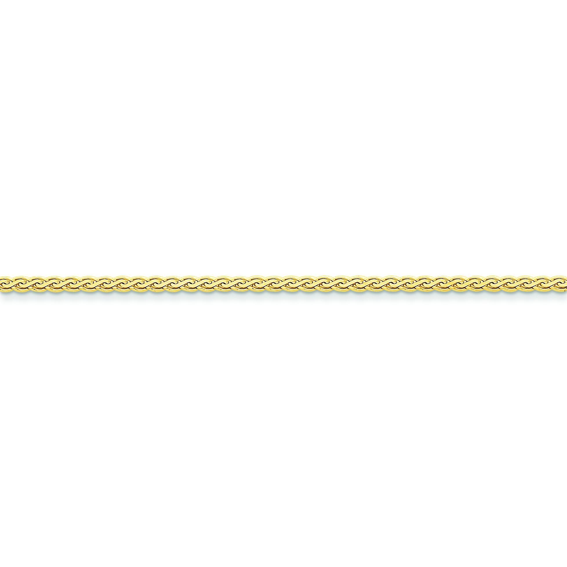 14k Yellow Gold 7 inch 2.50 mm Flat Wheat Chain Bracelet